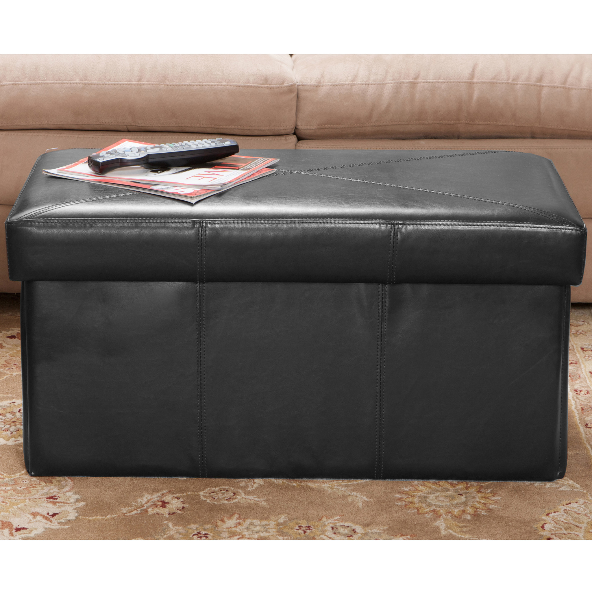 Temple Black Bonded Leather Storage Ottoman Bench