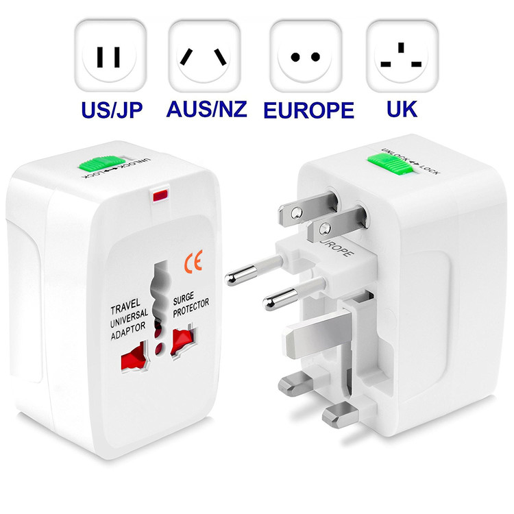 Universal Adapter Dual USB Power Charger Converter International Travel Electric Converter Plug Portable All in One Converting Socket 150 Countries Secure Safety Protect