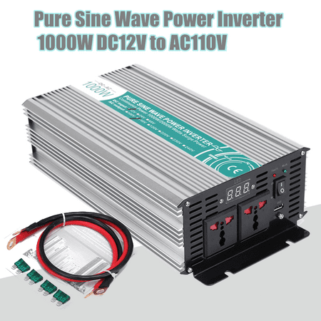 Solar Pure Sine Wave Inverter Power Converter 1000W 2000W Peak 12V DC To 110V AC Adapter Modified Manual Switch Over Temperature Protection for Household Car (Modified Sine Wave Vs Pure Sine Wave)