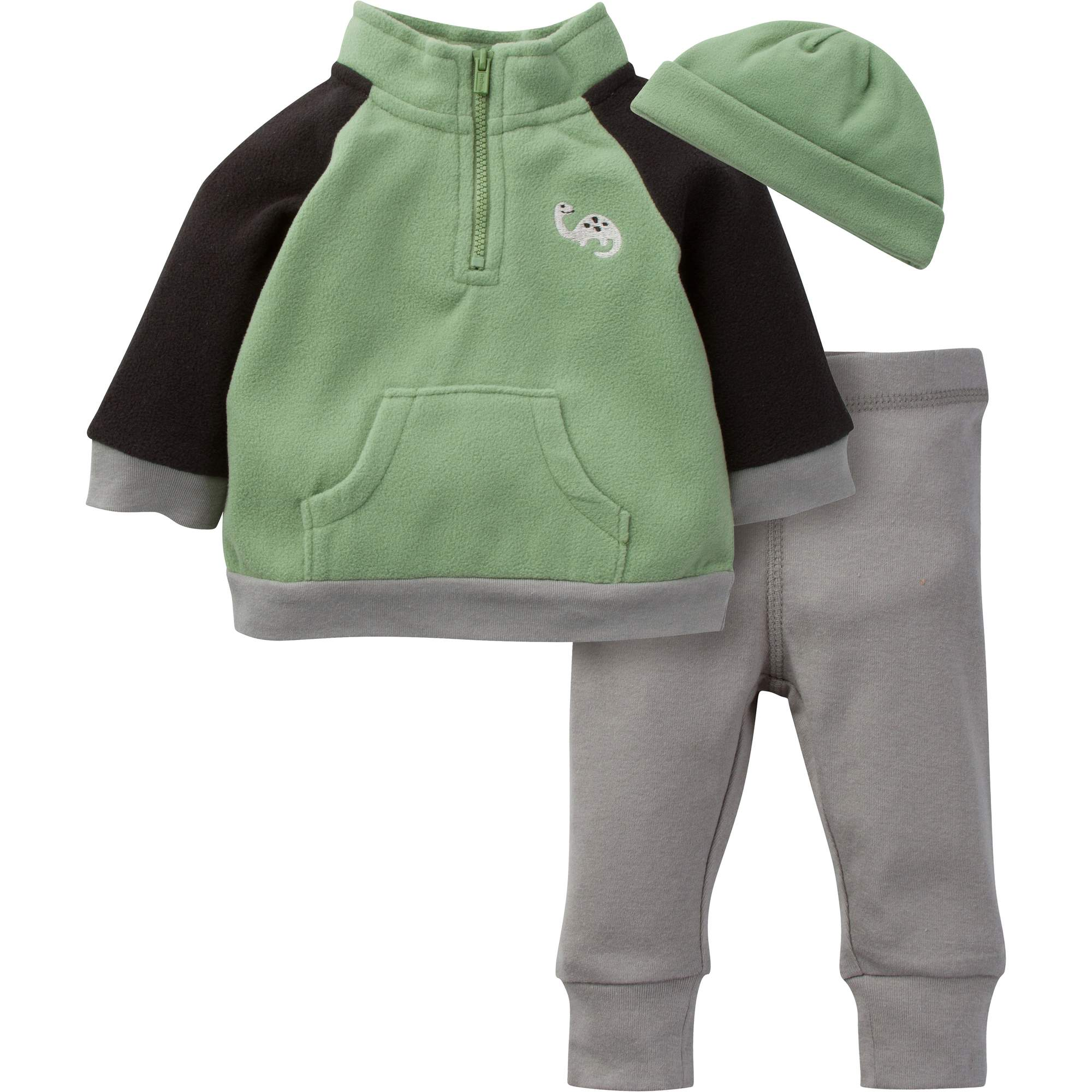 Newborn Baby Boy Microfleece Zip Jacket, Pant & Hat 3pc Outfit Set