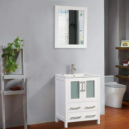 Vanity Art 24 inch Single Sink Bathroom Vanity Set - Modern Small Bathroom Storage Cabinet Solid Wood Ceramic Top Under Sink Cabinet with Free Mirror Solis Wood Vanity Cabinet