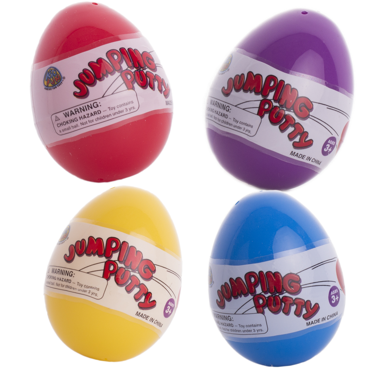 "Moldable Jumping Putty 2.25"" Filled Easter Eggs, Assorted Colors, 4 Pack"