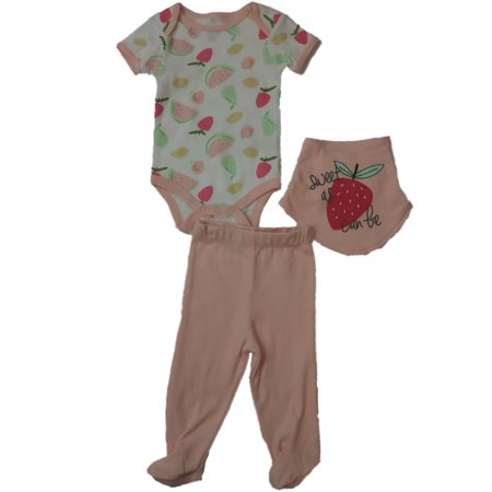 Infant Toddler Girls Sweet As Can Be Strawberry 3-PC Hankerchief Bib Outfit - Strawberry Shortcake Outfits
