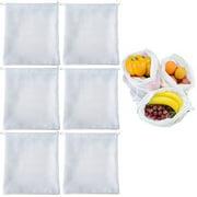 6 Reusable Produce Bag Drawstring Mesh Net Fruit Vegetable Grocery Food Storage
