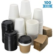 NYHI 100-Pack 8 oz. White Paper Disposable Cups With Black Lids And Sleeves- Hot/Cold Beverage Drinking Cup for Water, Coffee or Tea - Ideal for Water Coolers, Party, or Coffee On the Go' (8 oz.)