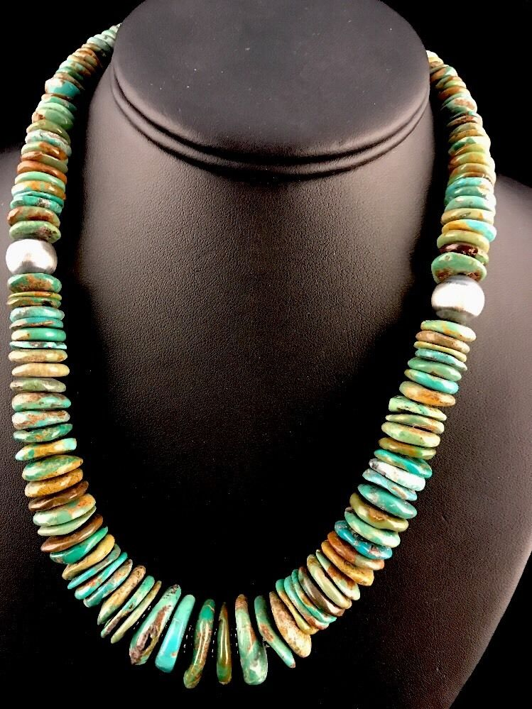 """Native American Green Turquoise Sterling Silver Necklace 18"""" by Masha"""