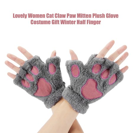 Sofe Women Winter Claw Gloves Fluffy Bear Paw Mittens Lady Half Finger Gloves - image 13 of 16