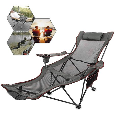 VEVOR Folding Camping Chair with Foot Rest w/ Cup Holder and Storage Bag ()