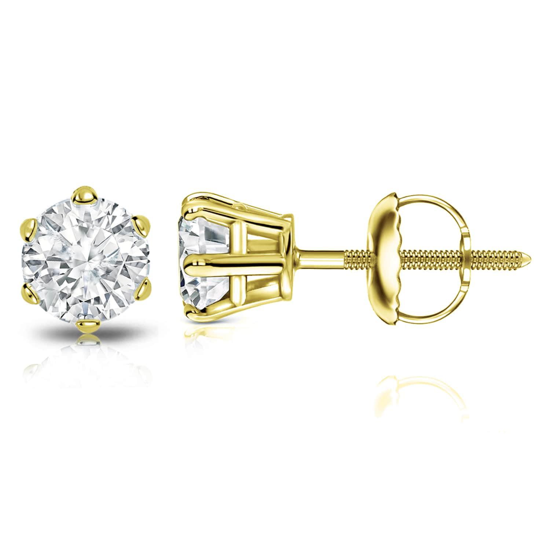 Auriya 14k Gold 1 1 2ct Tdw 6 Prong Round Diamond Stud Earrings