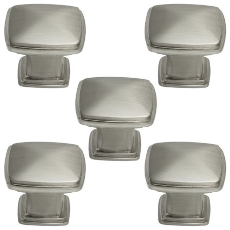 5 Packs of Brushed Satin Nickel Cabinet Hardware Square Pyramid Deco Knobs (Dia Deco Knob)