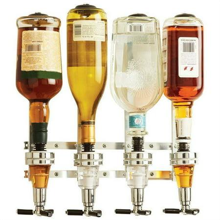 4-Bottle Wine Alcohol Liquor Dispenser With Rotating Stand Bar Caddy Liquor Dispenser Revolving Liquor Dispenser Wine Holder For Bar Party Tools