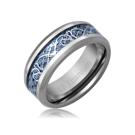 Mens Wedding Band in Titanium 8MM Ring Blue Celtic Dragon Design