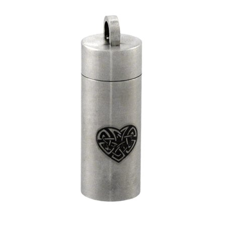 Stainless Steel Celtic Heart Cylinder Stash Pendant Pill Case Vial