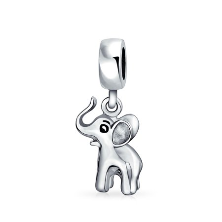 Beaded Elephant - Good Luck Elephant Trunk Up Dangle Bead Charm For Women For Teen 925 Sterling Silver Fits European Bracelet