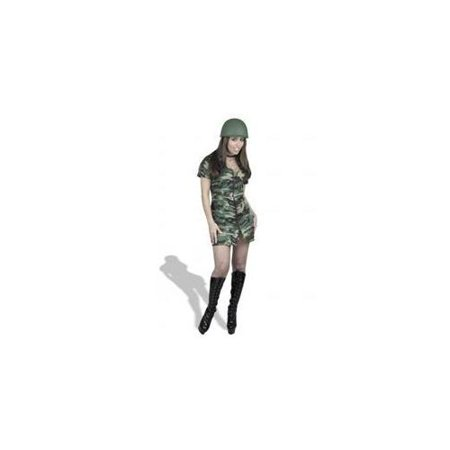 Charades Costumes 127434 GI Gal Double Zip Dress Adult Costume - Green - -