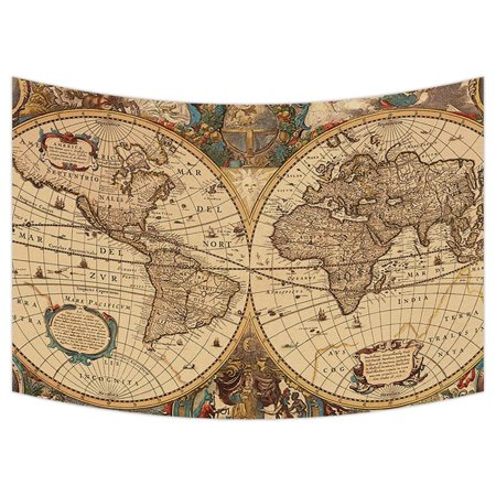 Gckg world map tapestryvintage retro world map wall hanging wall gckg world map tapestryvintage retro world map wall hanging wall decor art for living gumiabroncs Choice Image