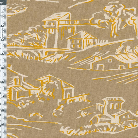 Tan Village Toile Print Home Decor Cotton, Fabric Sold By the Yard