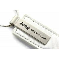AutoGold Jeep Wrangler White CF Carbon Fiber Leather Key Chain Ring Tag Fob Lanyard Metal KC1557.WRA