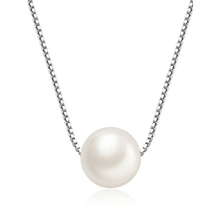Devuggo Freshwater Cultured 8MM AAA White Single Round Pearl Pendant Necklace for Women