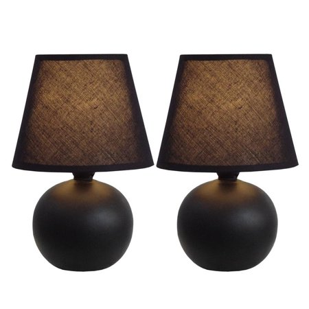 Simple Designs Mini Ceramic Globe Table Lamp 2 Pack Set (Black Lamps Set Of 2)
