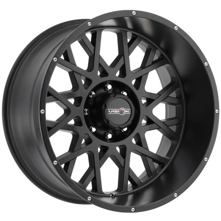 Vision Off-road Wheels, Rocker Style: 412 RWD, Finish: Satin Black w/Chrome Bolts, Wheel Size Inches: 22X12 PCD: 8-165.1 Load Rating lbs. (Best Tire Size For 22 Inch Rims)