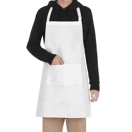 Esonmus Adults Polyester Kitchen BBQ Restaurant Apron with Adjustable Neck Belt 2 Pockets for Cooking Baking Gardening for Men