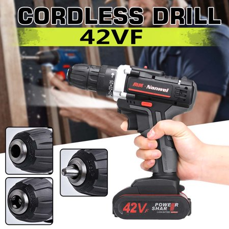 42V Heavy Duty Electric Impact Wrench Gun Cordless Drill Tool + 1 Torque LED Light with 1 or 2