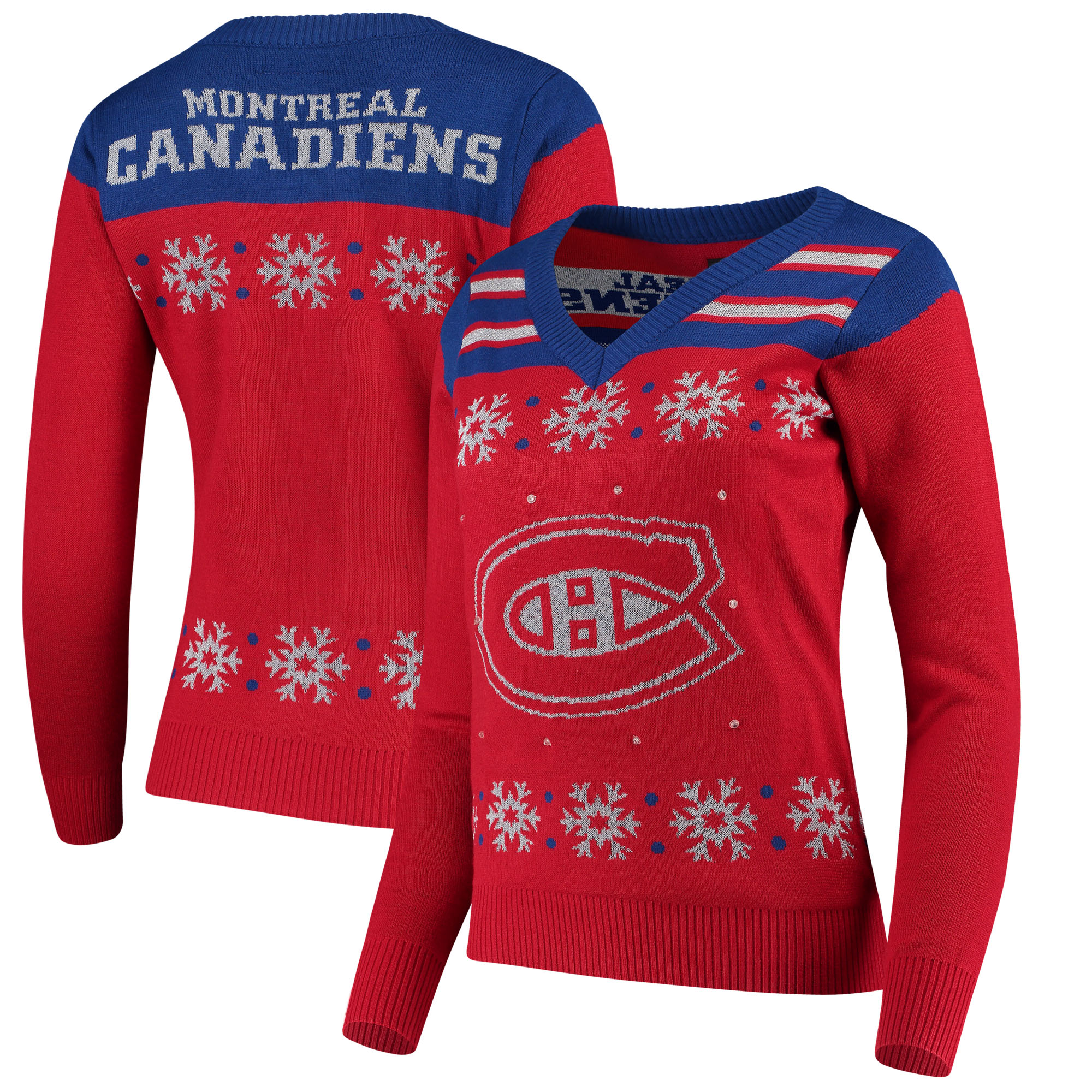 Montreal Canadiens Women's Light Up V-Neck Sweater - Red