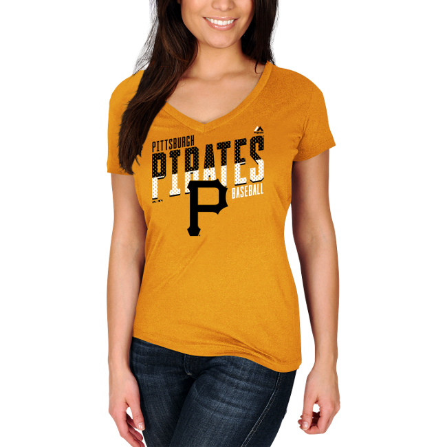 Pittsburgh Pirates Majestic Women's Crank Up the Heat T-Shirt - Gold