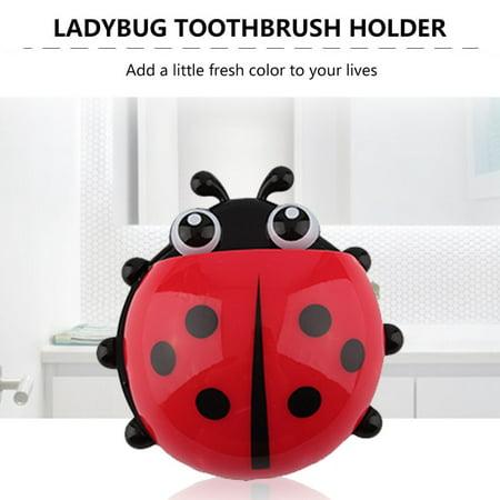 Fashion Cup Bathroom Toothbrush Stuff Ladybug Wall Suction Holder Organizer - image 1 of 8