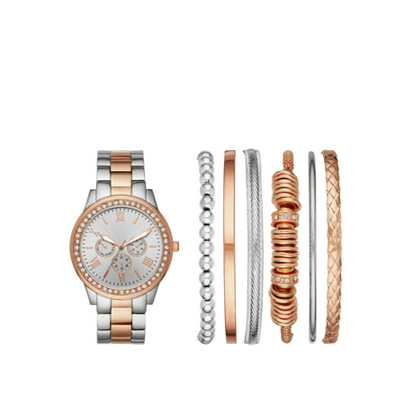 Ladies' Two-Tone Rose Gold and Silver Watch and Bracelet Gift