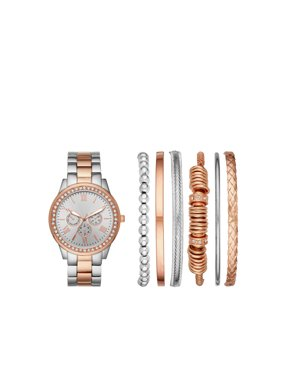 Ladies' Two-Tone Rose Gold and Silver Watch and Bracelet Gift Set