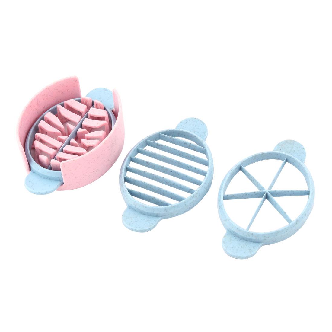 Home Plastic Three Ways Fruit Egg DIY Wedge Slicer Cutter Tool Pink Blue Set