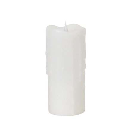 "7"" Simplux White Flameless LED Lighted Wax Pillar Candle with Moving Flame"