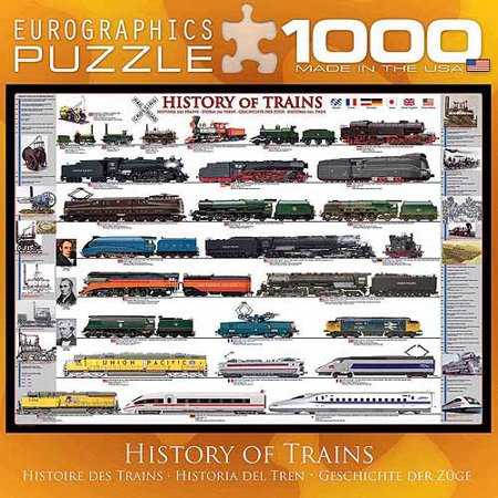 EuroGraphics History of Trains 1000-Piece Puzzle, Small Box - Train Puzzles