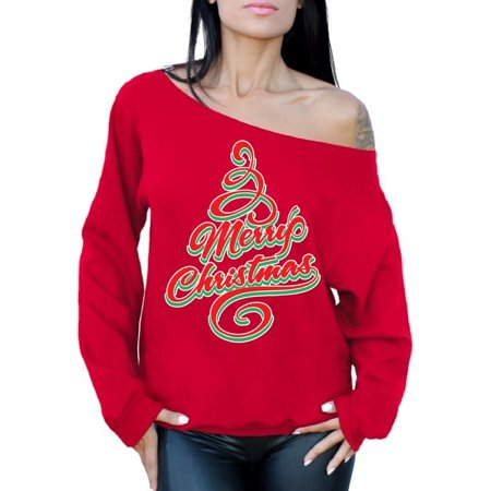 awkward styles awkward styles merry christmas off the shoulder sweatshirt sweater christmas tree holiday sweatshirt christmas off the shoulder top slouchy