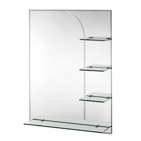 Croydex Bampton Beveled Edge Wall Mirror 32-Inch x 24-Inch with Shelves and Hang 'N' Lock Fitting System