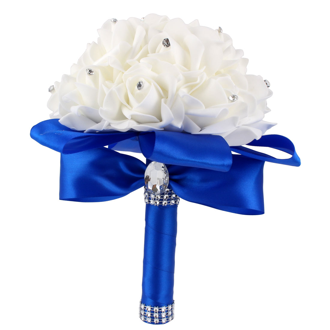Bridal Wedding Holding Bouquet Party Decor Artificial Rose Flower Royal Blue