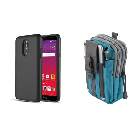 Mp4 Protective Pouch - Slim Dual Layer Rugged Hybrid Armor Protective Cover Case (Black) with Teal Blue Tactical EDC MOLLE Utility Waist Pack Holder Pouch, Atom Cloth for LG Stylo 4+ Plus/LG Stylo 4 (2018)