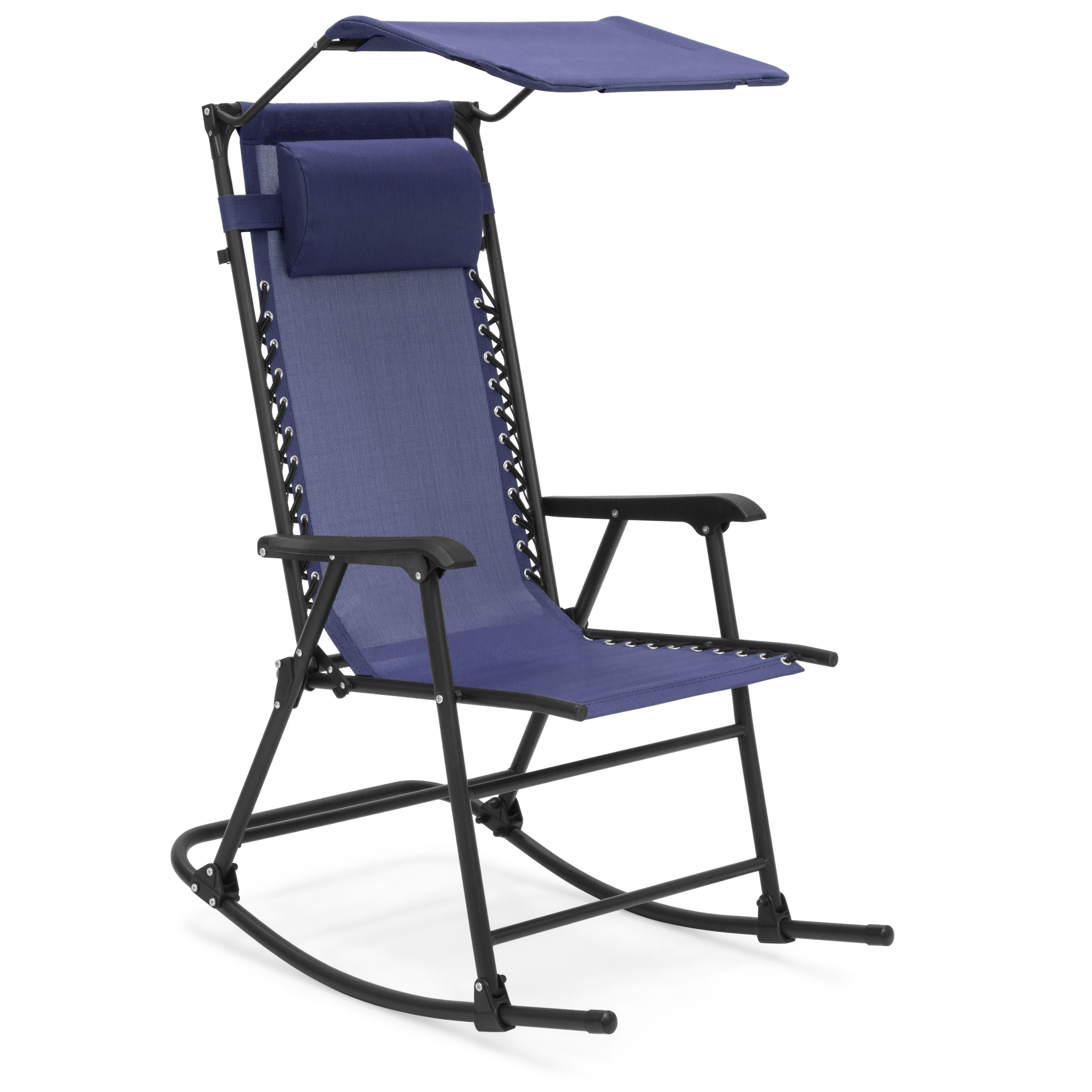 Best Choice Products Foldable Zero Gravity Rocking Patio Chair w/ Sunshade Canopy - Navy Blue