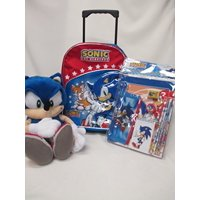 """Sonic The Hedgehog Large 16"""" Rolling Backpack Roller Wheeled Book Bag & 11 Piece Stationery Portfolios Notebook Pencil Pouch Set"""