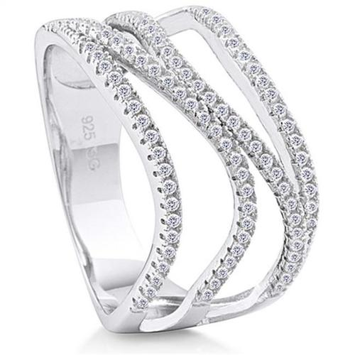 Doma Jewellery SSRZ6435 Sterling Silver Ring With Micro Set CZ, Size 5
