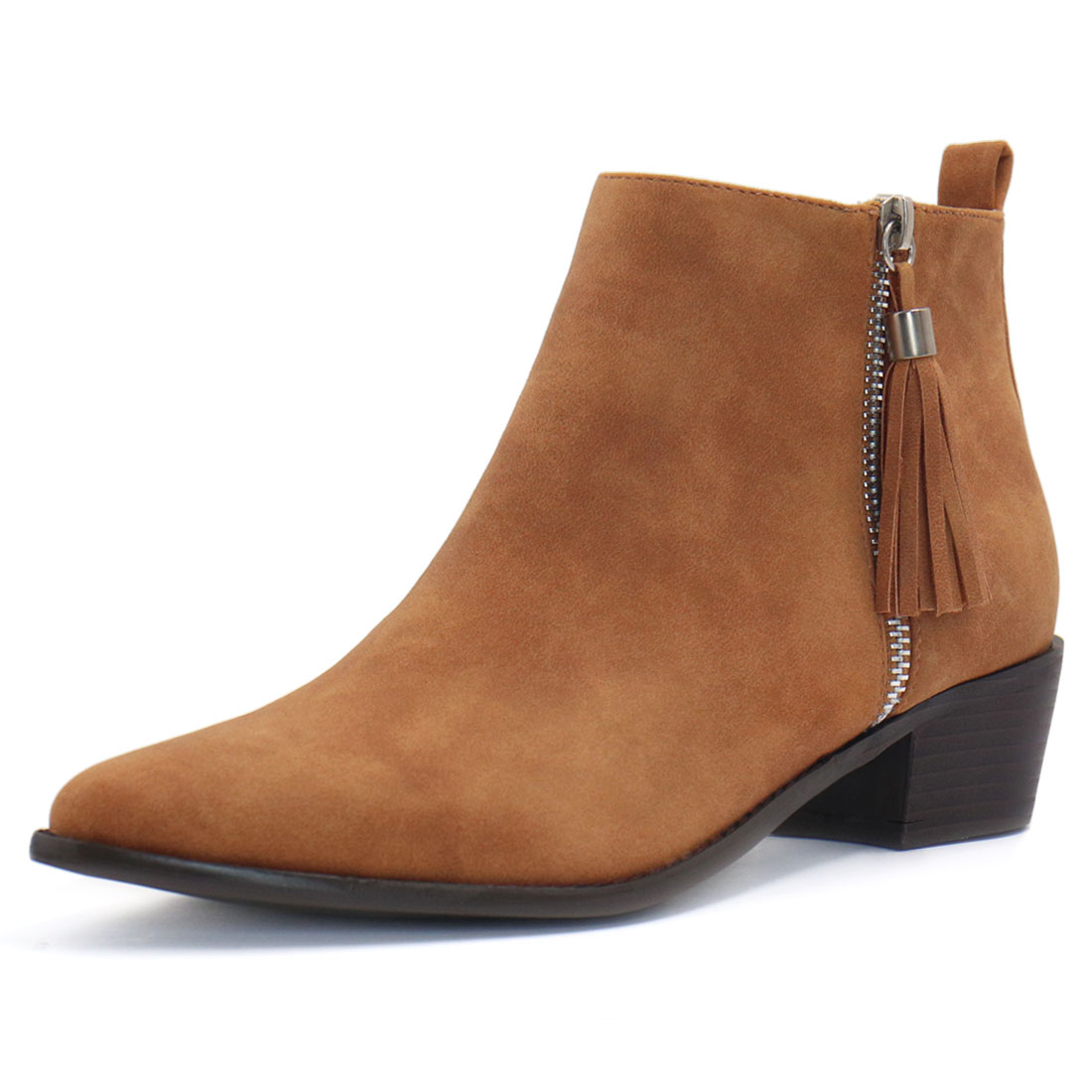 Unique Bargains Women's Pointed Toe Tassel Zippered Stacked Heel Ankle Boots Brown (Size 10.5)