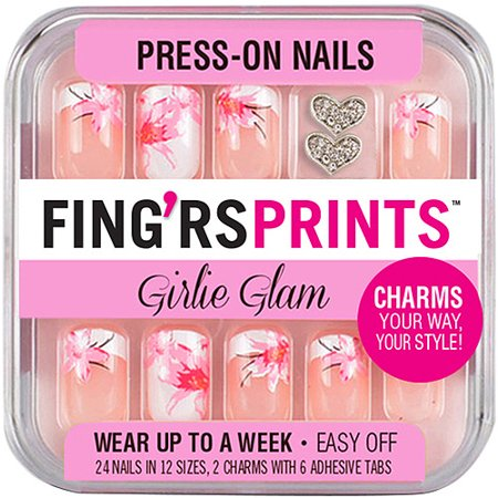 Fing'rs Imprime Girlie Glam Press-Nails, Blooming Beauty, 26 count