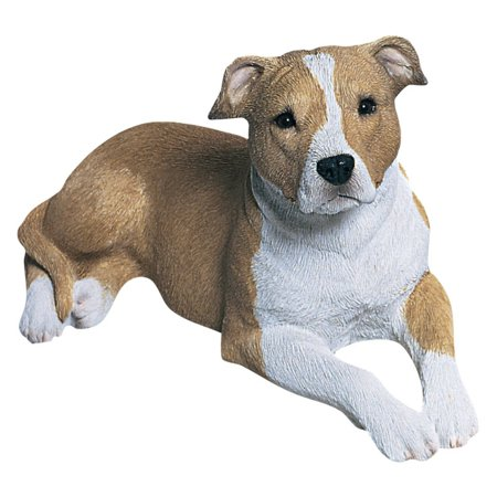 Sandicast Mid Size Fawn/White Pit Bull Terrier Sculpture