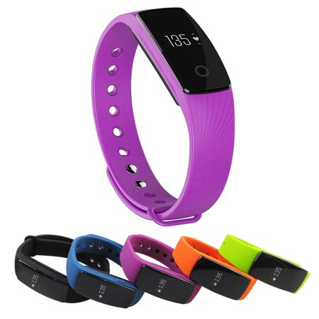 Smart Watch Bluetooth 4.0 Wrist Band Bracelet All-in-1 with Heart Rate Activity Tracking, Sleep Monitor, Purple (Mile Tracking Watch)