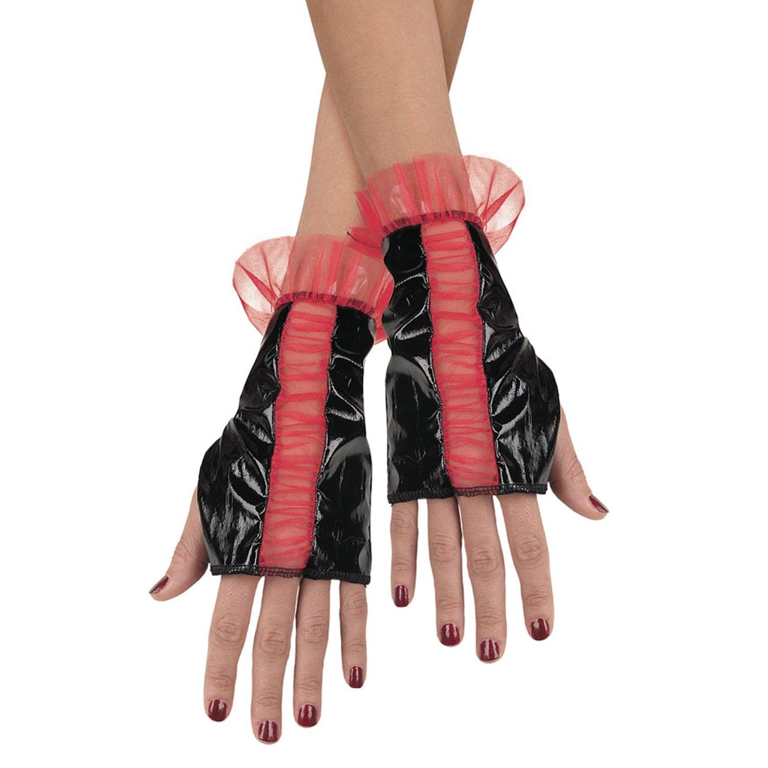 Unique Glovettes Black Red Accents Fingerless Gloves