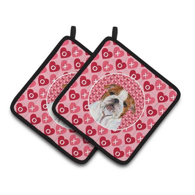 Carolines Treasures SS4484PTHD Bulldog English Hearts Love Valentines Day Pair of Pot Holders, 7.5 x 3 x 7.5 in. - image 1 de 1