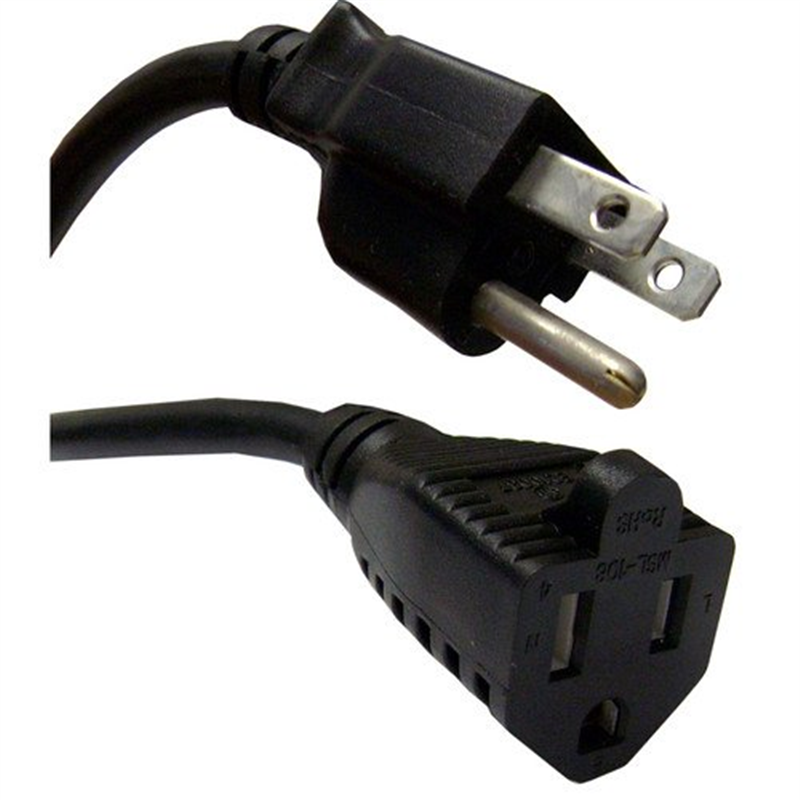 CableWholesales Power Extension Cord, Black, NEMA 5-15P to NEMA 5-15R, 10 Amp, 15 foot