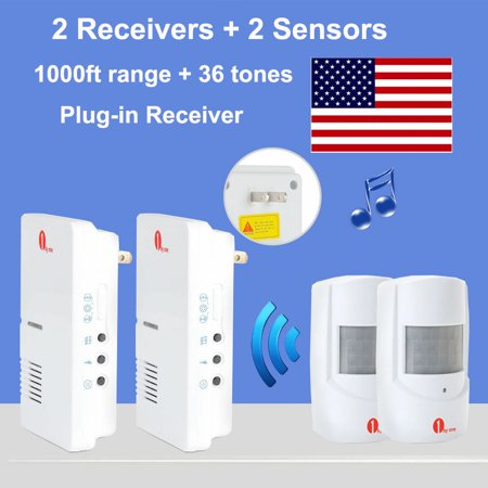 [2020 Newest ]1byone 1000ft Wireless Driveway Alarm Alert System with Christmas, Birthday 36 Chimes, 2 Plug-in Receiver and 2 PIR Motion Sensor Detector Weatherproof Patrol Infrared Alert System